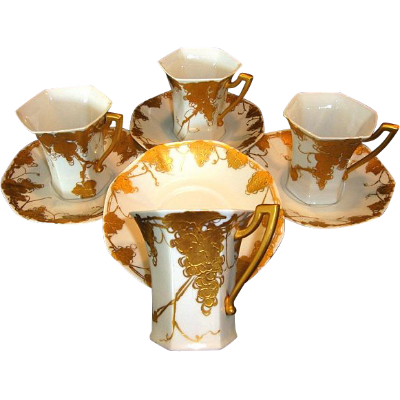 50% OFF! Four (4) Unique Limoges Porcelain CHOCOLATE SET Cups & Saucers ~ Grapes and Vines Hand Painted with Raised Roman Gold ~ Signed 'Emma A Strahley' ~ T&V Limoges 1907-1919