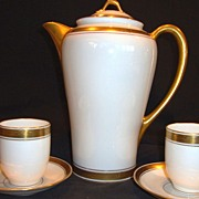 Elegant Pickard Decorated Porcelain Chocolate Pot with 2 Matching Cups and Saucers ~ Hand Painted with Gold and Black Geometric Design ~ Pickard Studios Chicago IL 1912-1919