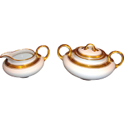 Classy Pickard Decorated Limoges Porcelain Creamer and Sugar ~ Hand Painted with Gold and Black Geometric Designs ~  A. Klingenberg Limoges France / Pickard Studios Chicago IL 1910-1912