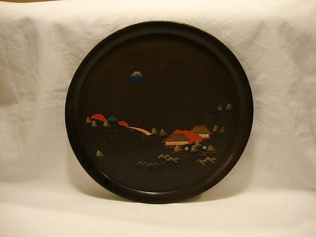 Old Black Lacquer Tray ~ Hand Painted with Japanese Houses and Landscape.