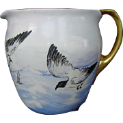 WONDERFUL Lenox Belleek Lemonade / Cider Pitcher ~ Hand Painted with Ocean,Sea Gulls&Boats ~ Lenox Belleek ca.1906-1924.