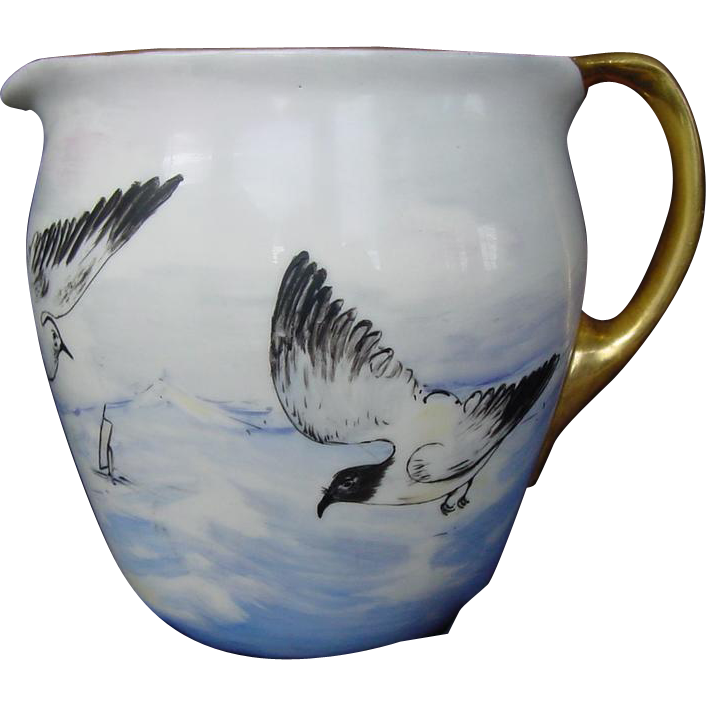 50% OFF!  WONDERFUL Lenox Belleek Lemonade / Cider Pitcher ~ Hand Painted with Ocean,Sea Gulls&Boats ~ Lenox Belleek ca.1906-1924.