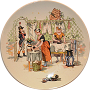 Neat French Faience Story Plate / Plaque ~ Two Young Woman Ironing & Doing Laundry~ Froment-Richard / Antoine-Albert Richard ~ UTZCHNEIDER & CO [(Sarreguemines, France) - ca 1920-1950's
