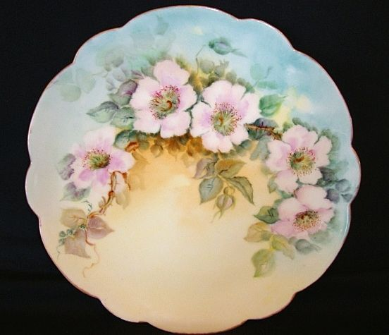 Beautiful Limoges Porcelain Plate Hand Painted with Pink/White Wild Roses – Limoges France 1891+