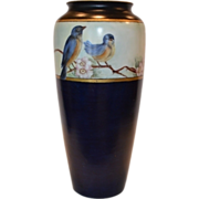 "Beautiful Bavarian Cobalt Vase ~ Hand Painted with Blue Birds ~10 ½"" Tall ~ Rosenthal Selb-Bavaria 1910"