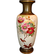 "Extraordinary 8 ½"" Tall English Earthenware Bud Vase ~ Tapestry Ground with Pink Roses ~ Artist Signed ~ Doulton Slater's Burslem England 1886-1902"