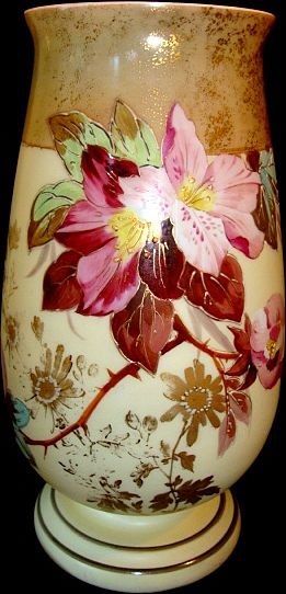 "Amazing 12"" Bristol Mantel Vase ~ Decorated with Flowers and Gold Gilt ~ England late 1800's"
