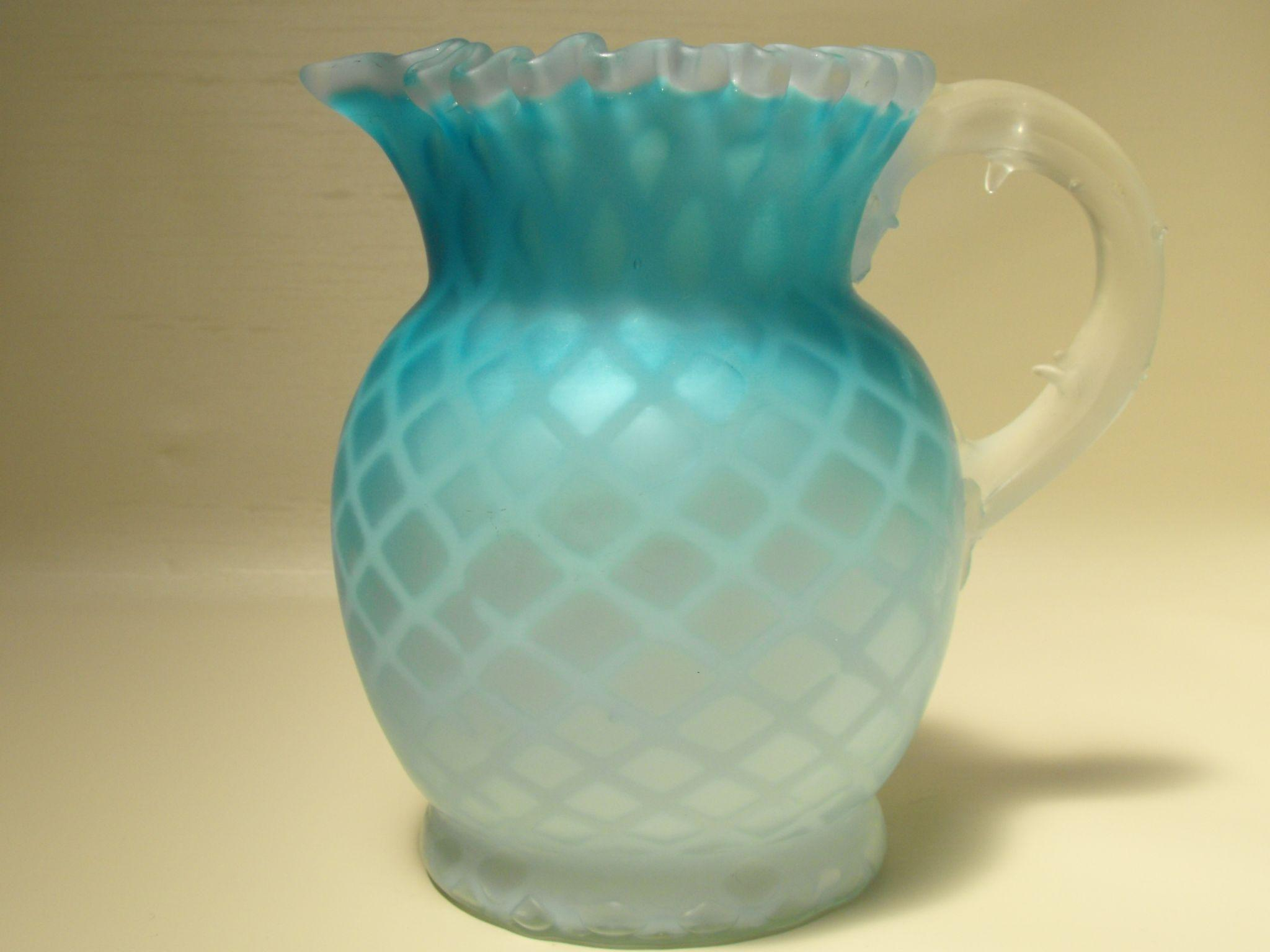 Blue Satin Glass Diamond Quilted Mother Of Pearl Pitcher