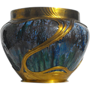 Circa 1900 Orivit Art Nouveau Iridescent Glass Vase in Gilt Metal Mount