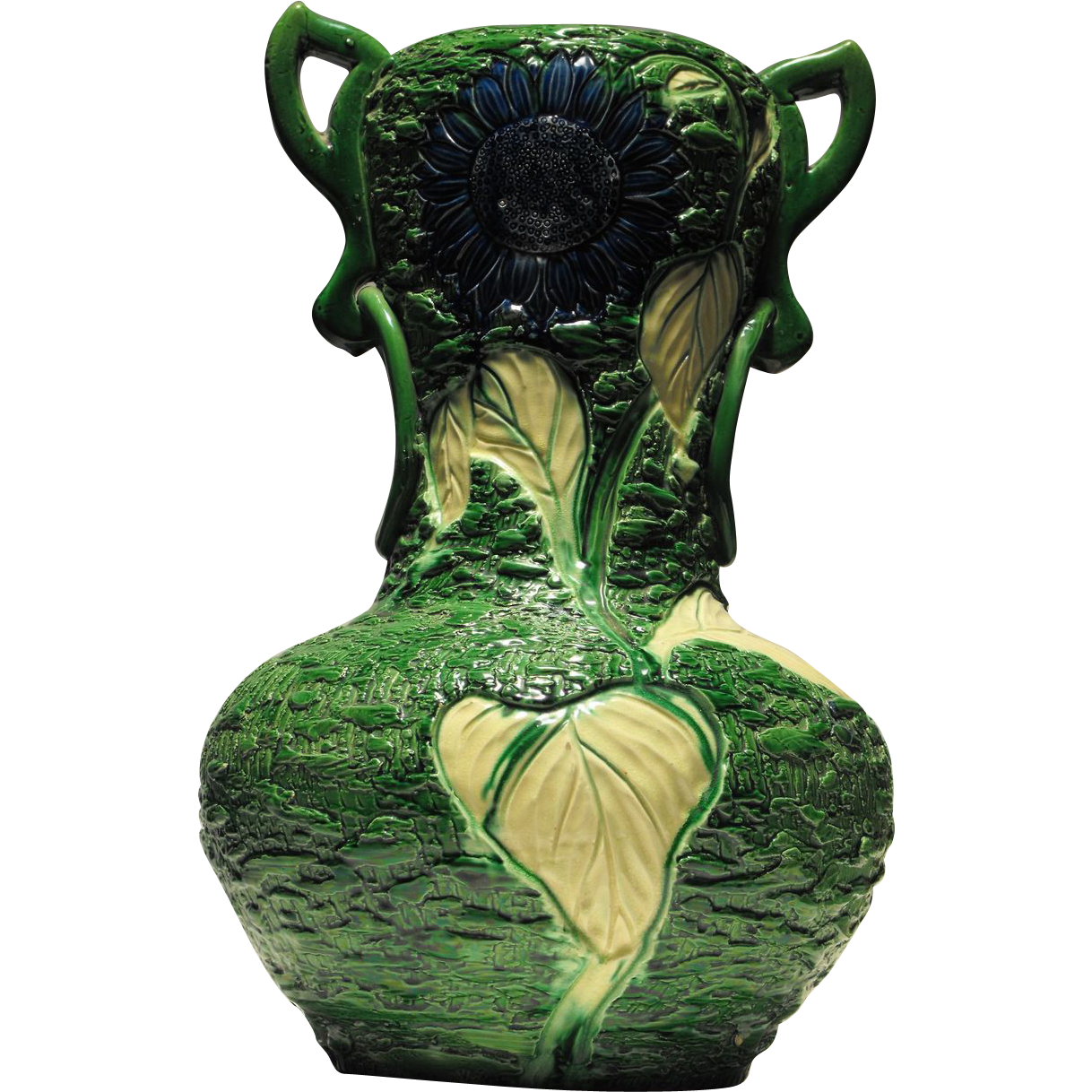Monumental Handcrafted Awaji Vase with Unusual Blue Sunflower Decoration