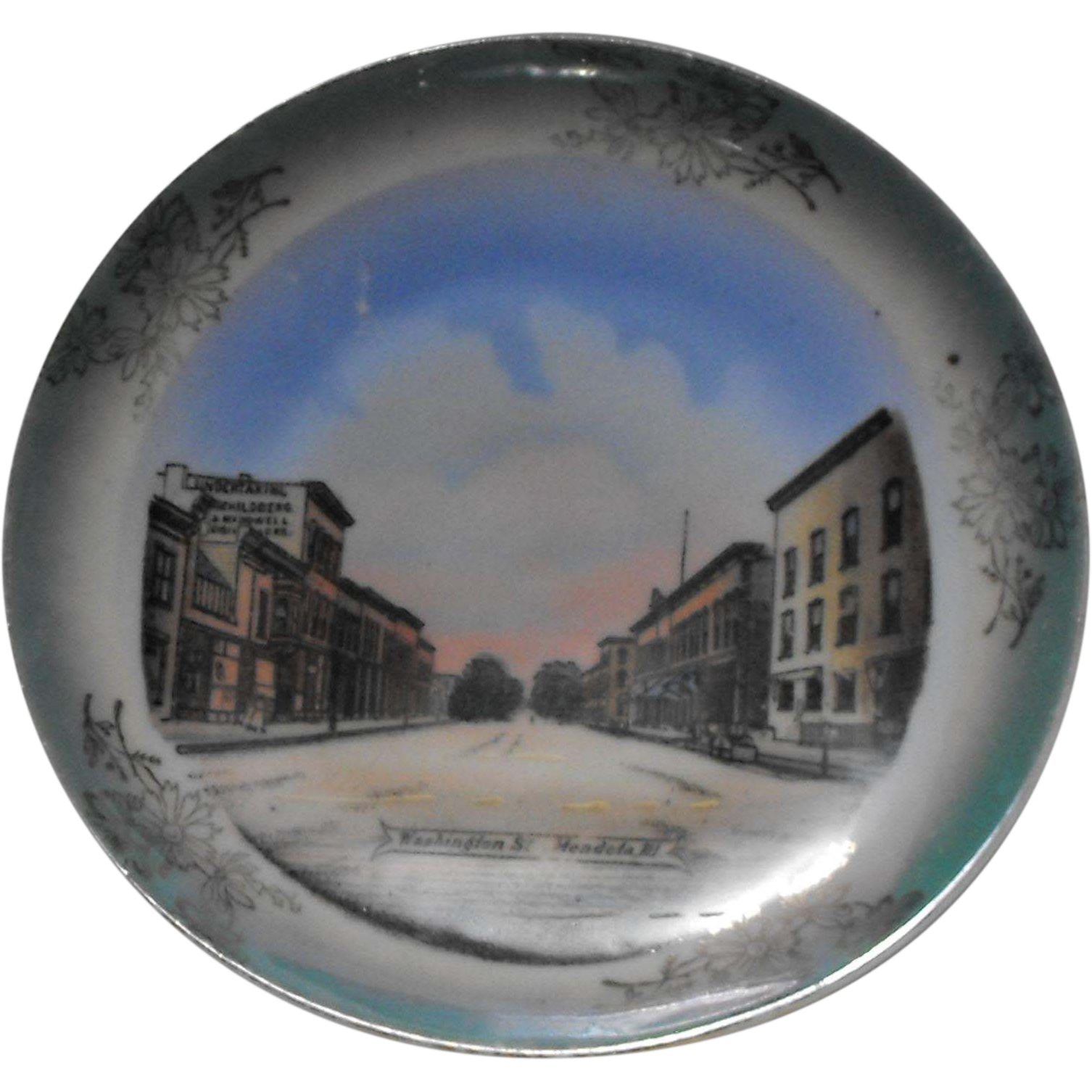 Jonroth Studios Porcelain Souvenir China Plate Washington Street, Mendotta Illinois