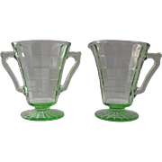 Anchor Hocking Block Optic Green Cone Shaped Cream and Sugar Set