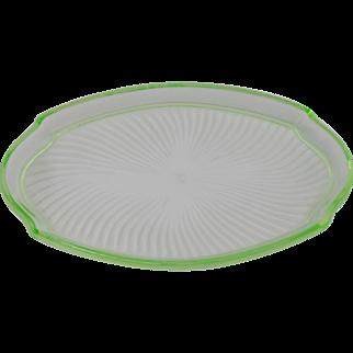 Green Depression Uranium Glass Oval Tray
