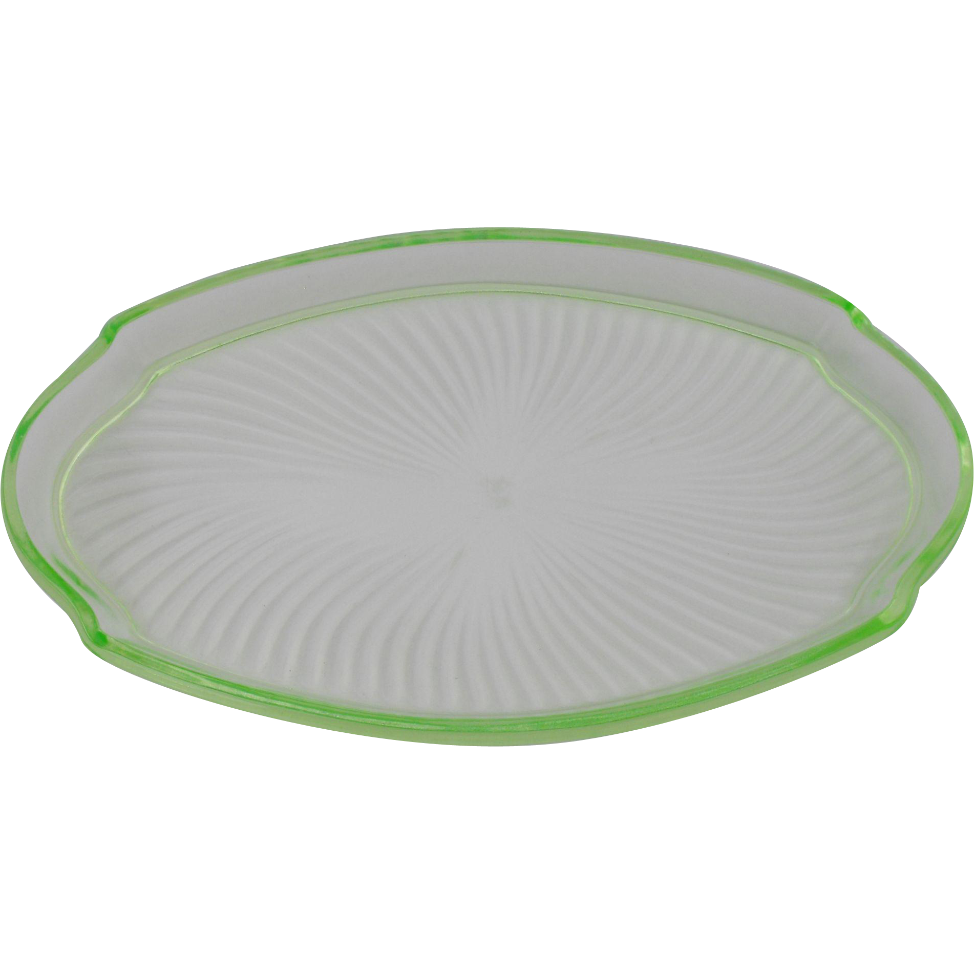 Green Depression Uranium Glass Oval Tray