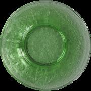 Three Green Depression Glass Bread Plates Rose Cameo Pattern