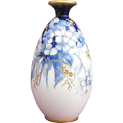 Amphora Blue and White Floral Vase with Raised Gold Enamel