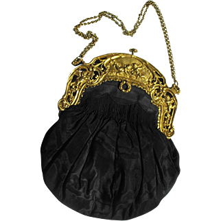 Black Taffeta Handbag with Cherub Decorated Frame Marked Made in France
