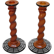 Westmoreland Art Deco Orange Ware Candlesticks with Charles West Lattice Decoration No. 314