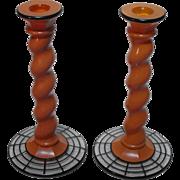 Westmoreland Art Deco Orange Ware Candlesticks with Charles West Lattice Decoration No. 314