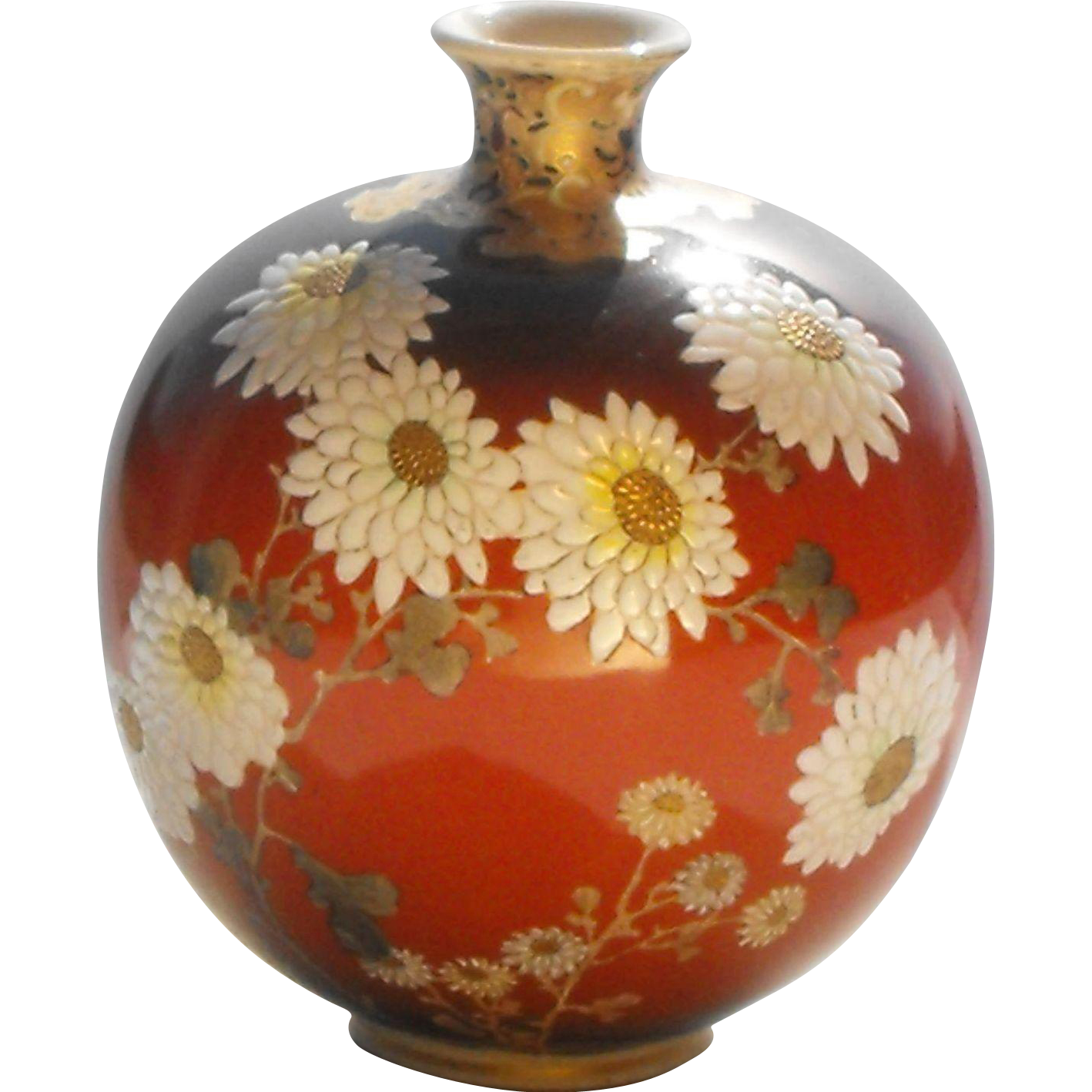 Kyo-yaki Kyoto Ware Signed Kinkozan Vase with Butterfly and Raised Enamel Flowers