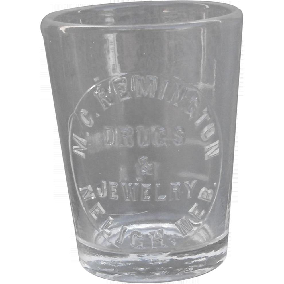 Neligh, Nebraska Druggist Medicine Glass Dose Cup