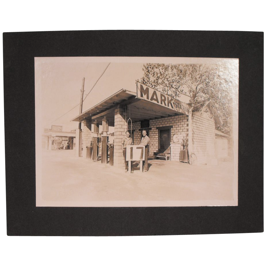 Original Old Gelatin Silver Print Photograph of an Oklahoma Gas Station -Gas 17 cents a Gallon
