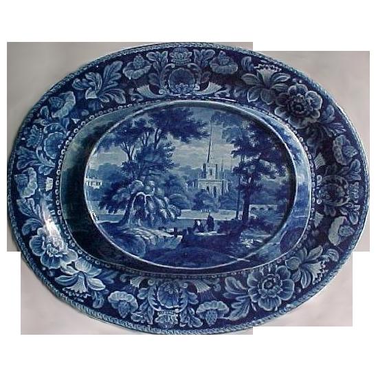 Davenport Blue and White Transfer Platter Cornucopia Flower Border Series Ca. 1825