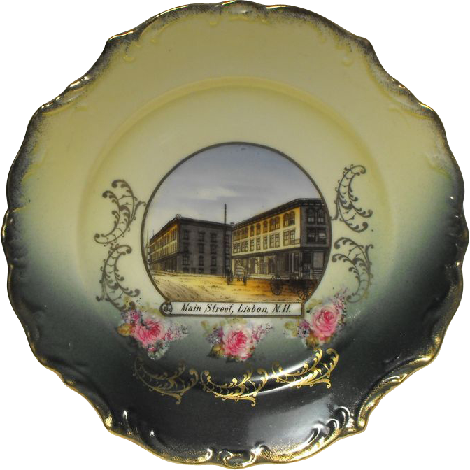German Souvenir China Plate - Main St, Lisbon, New Hampshire