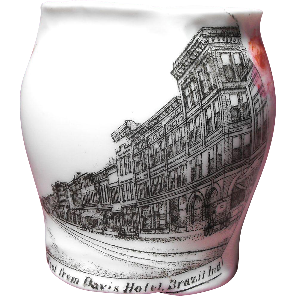 Porcelain Souvenir Toothpick Holder - Street Scene Looking West from Davis Hotel, Brazil, Indiana