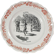 Early Fencing Image Transferware Faience Plate Les Sports Series Creil et Montereau Terre de Fer France
