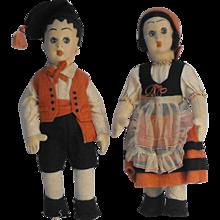 Pair 'Surprised Eyes' Fiori Felt Mascotte Size Dolls in Regional Italian Costumes