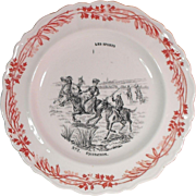 Equitation - Horseback Riding Transferware Image Faience Plate Les Sports Series Creil et Montereau Terre de Fer France