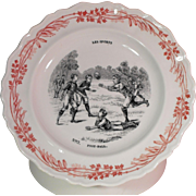 Transferware Image Playing Foot-Ball Faience Plate Les Sports Series Creil et Montereau Terre de Fer France