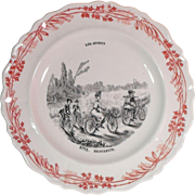 No. 11 Bicyclette - Transferware Image Faience Plate Les Sports Series Creil et Montereau Terre de Fer France
