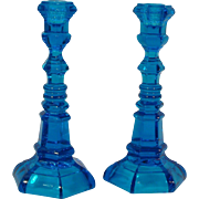 Pair Copper Blue Fostoria Glass Single Light Candlesticks for Henry Ford Museum