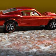 Original 1968 Mattel Redline Hot Wheels Custom Mustang Spectraflame Red with White Interior, U.S. Made