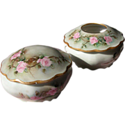 Vintage Powder Bowl with Pink Roses and Hair Receiver Hand Painted Austria