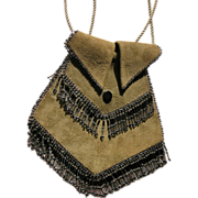 Vintage Purse Handbag from 1920's Suede with Glass Beads