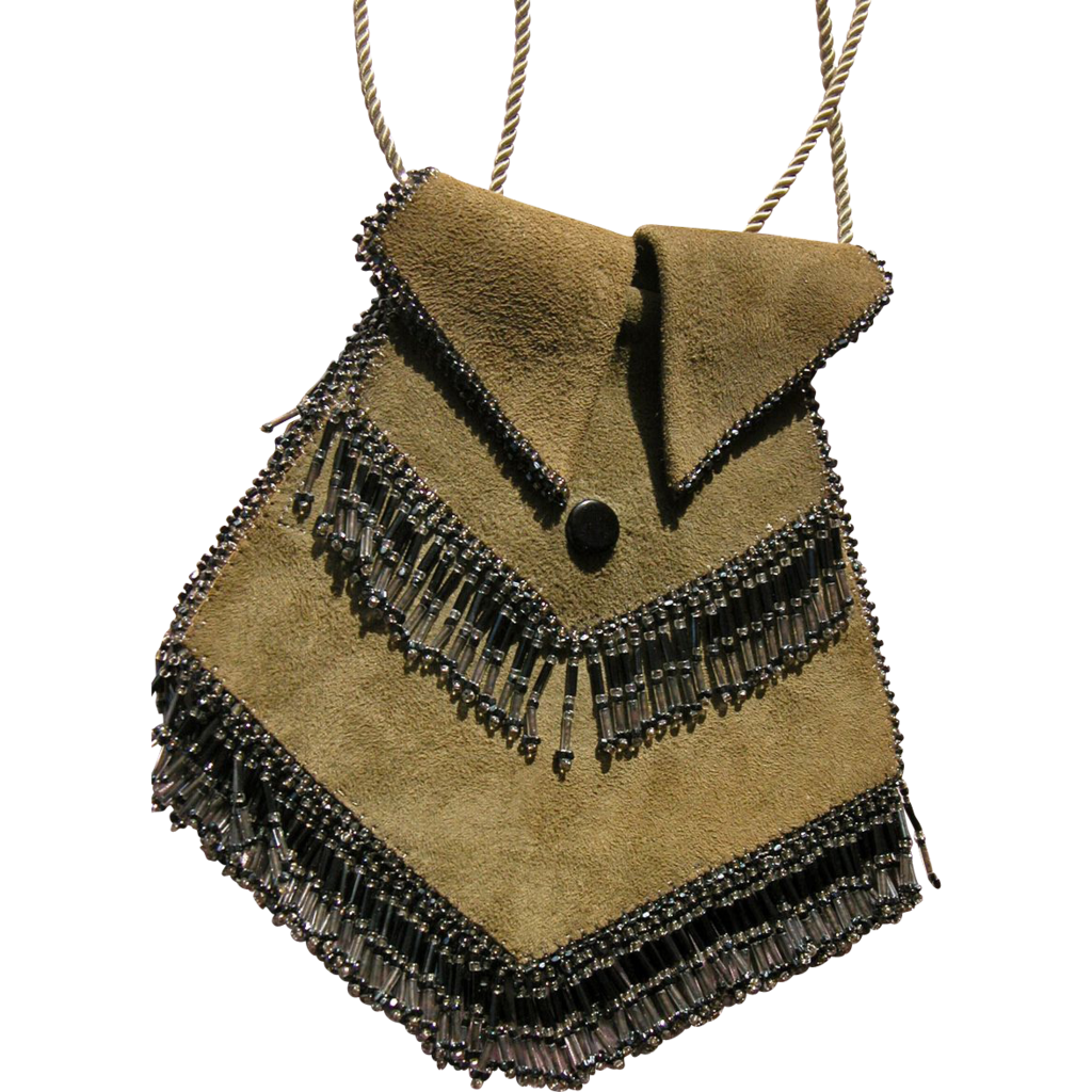 1920's Vintage Purse Handbag Suede with Glass Beads Great Condition