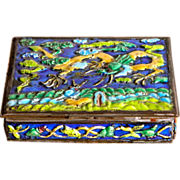 Enamel Box w/ Dragons China Brass and Enamel