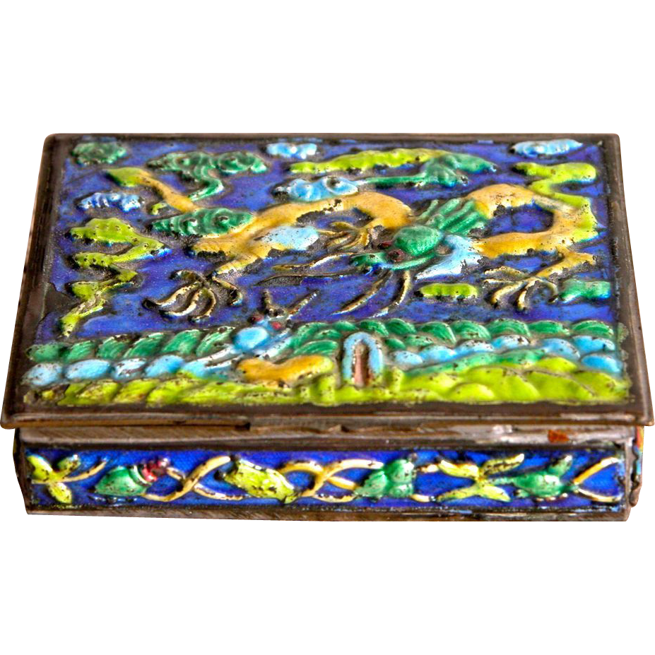 Enamel Box w/ Dragons China Brass and Enamel