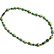 Crystal Beaded Necklace in Green Twenty Two Inches