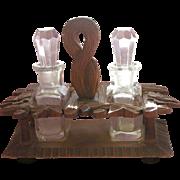 Perfume Bottle Holder Black Forest Hand Carved Wood - Red Tag Sale Item