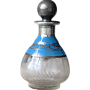 Blue Victorian Perfume Bottle in Enamel Silver Overlay