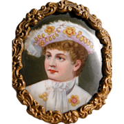 Portrait Hand Painted on Porcelain Antique Young Boy in Frame