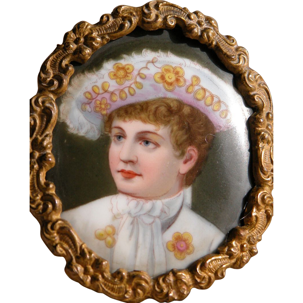 Framed Portrait Hand Painted on Porcelain Antique Young Boy in Frame