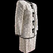Designer Suit Jacket Skirt by Victor Costa Beaded Black White Beige