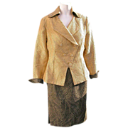 Couture Suit Image by Levelena Black  Gold  Rhinestone Buttons Size Eight