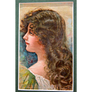 Victorian Lithograph of Nouveau Lady