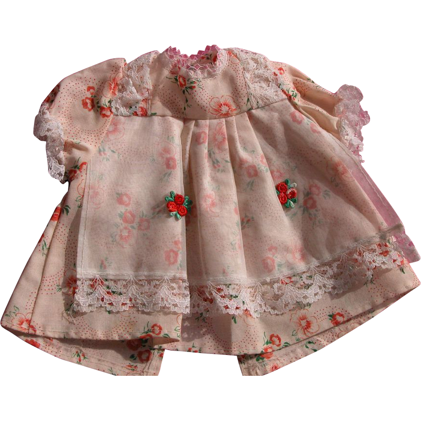Vintage Doll Dress with Lace and Rosettes